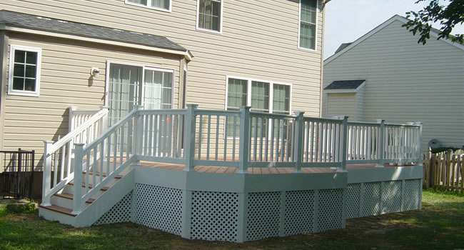 White wood deck